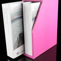 Slipcase for 2 ring binder. Hand grip. UV lacquer on side. Leather hand grip.