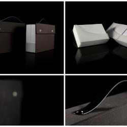 Display box for booklet. Hand grip. Book cloth cover material.