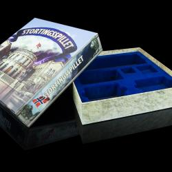 Top-bottom board game box with blue velvet flock inlay tray.
